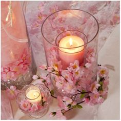 Cherry Blossom Candle Holder - Wedding candles Ideas and Inspirations. Cherry Blossom Centerpiece, Cherry Blossom Decor, Cherry Blossom Party, Cherry Blossoms, Cherry Blossom Bouquet, Wedding Themes, Wedding Decorations, Wedding Favors, Wedding Ideas