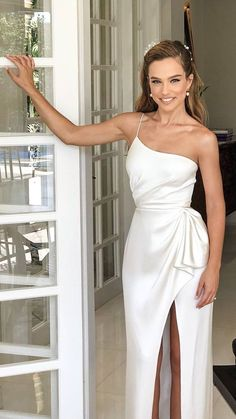alon livne 2019 bridal real bride sleeveless thin straps sheath one shoulder ruched waist wedding gown mv -- Here Comes the Bride, All Dressed in Alon Livné White Civil Wedding Dresses, Dresses To Wear To A Wedding, White Wedding Dresses, Elegant Dresses, Wedding Gowns, Formal Dresses, Mini Dress Formal, Wedding White, Maxi Dresses