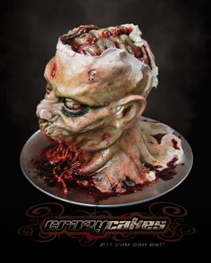 What we have here is a life size decapitated Zombie Head. 55 servings of our double dark chocolate stout beer cake! It's edible (no rice cereal or foam in this guy). Halloween Torte, Halloween Treats, Happy Halloween, Halloween Desserts, Creepy Halloween, Halloween Stuff, Crazy Cakes, Fancy Cakes, Gross Cakes