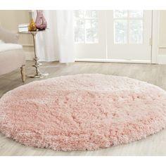 Safavieh Handmade Arctic Shag Pink Polyester Rug (5' Round)