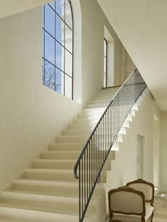Plaster Stairs with Iron Railing