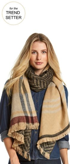 Gifts for the Trend-Setter | Ruff Hewn Plaid Runway Wrap Scarf | Very Merry Gift Guide