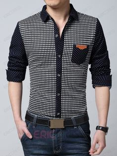 Ericdress Polka Dots Casual Long Sleeve Men's Shirt Men's Shirts
