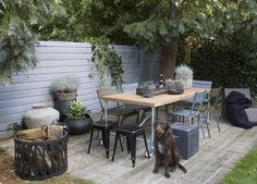 <3 Decking, outdoor dining, painted grey fence and trees. We could totally do this in our garden. Love it!