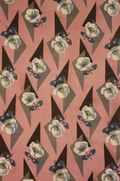 Art Deco Fabric 1920 S Pink Floral Material Printed Cotton Blue Grey