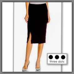 Three Dots front-slit black pencil skirt, size XL Never worn. Material: 95% viscose, 5% spandex. Length is approximately 28.5 inches (measured flat). Waist is 32 inches (but fabric has stretch). Front slit is 8 inches. Back is plain with no slit. Brand runs small, so XL is 12 to 14. Super-comfy, soft, T-shirt-like material that drapes well. Smoke-free, pet-free home. I have allergies so I don't use fragranced detergent or fabric softener/dryer sheets. Three Dots Skirts Midi