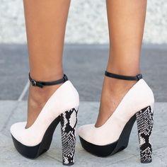 625926f2fe3 Blush   Multi Print Color Block Pumps Chunky Heel Shoes
