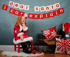 Dear Santa I Can Explain Christmas Photo Shoot Prop Recycled Cardboard Banner, Winter Holiday Picture Mini Session Personalized Bunting