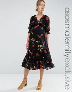 ASOS Maternity Midi Tea Dress in Floral Print