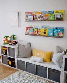 IKEA storage is king in this play room. The book rail displays colorful and beloved children's books in the kids' playroom. IKEA storage is king in this play room. The book rail displays colorful and beloved children's books in the kids' playroom. Toy Rooms, Room Ideas Bedroom, Bedroom Wall, Diy Boy Room, Book Corner Ideas Bedroom, Master Bedroom, Child Room, Bed Wall, Bedroom Themes
