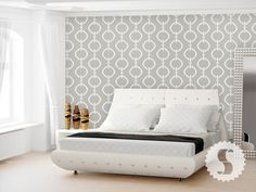 swag paper :: chain link. Gray and white chain link removable wallpaper