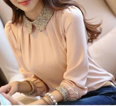 """HOT PRICES FROM ALI - Buy """"blusas de inverno Top Blouse Female roupas femininas camisa autumn fall women shirt Vetement Femme chemisier pink black for only USD. Chiffon Shirt, Chiffon Tops, Lace Chiffon, Korean Blouse, Peter Pan, Shirt Blouses, Blouses For Women, Korean Fashion, Long Sleeve Tops"""