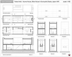 The Azuma House – Row House by architect Tadao Ando was built in Sumiyoshi, Osaka, Japan in Tadao Ando, Casa Azuma, Koshino House, Japan Architecture, Ancient Architecture, Sustainable Architecture, Landscape Architecture, Narrow House Designs, House Drawing