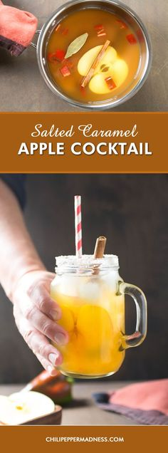 Salted Caramel Apple Cocktail - Enjoy the cooler weather with this delicious autumn cocktail recipe made with fresh apple, apple cider, salted caramel vodka and sweet apple peppers. Cider Cocktails, Fall Cocktails, Winter Drinks, Summer Drinks, Apple Cocktails, Carmel Vodka Drinks, Spicy Drinks, Party Food And Drinks, Alcoholic Beverages