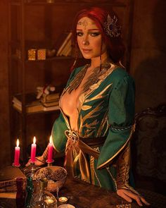 The Witcher 3 - Triss Merigold cosplay print Witcher Art, The Witcher 3, Anime Sexy, Fantasy Characters, Female Characters, Triss Merigold Cosplay, Final Fantasy, Dc Batgirl, Video Game Cosplay