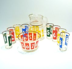 Mid Century Drink by the Numbers Vintage Barware Cocktail Set by VintageCreekside, $130.00
