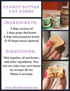 Have you ever tried fat bombs? This was my first shot--and I know that I'll be making more keto fat bombs in the future! Fat bombs are a super easy way to get your healthy fats in...and they are delicious!! Back to those Keto Fat Bombs!!!!!!These are the ingredients that I used, but you can be super creative with these! Melt in some 85% dark chocolate chips for chocolate peanut butter fat bombs....say WHAT?! Make sure you are using natural peanut butter--not Jiff! Ingredients should just ...