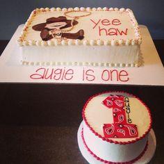 Cowboy first birthday cake and smash cake Cami's Cake Co. in Eudora, KS www.facebook.com/camiscakeco