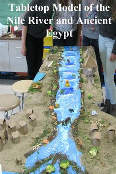 A Tabletop Model of the Nile River and Ancient Egypt. A great way to integrate ELA, Social Studies, Art, and Science! The finished model shows environmental and cultural aspects of the unique ancient Egyptian culture https://www.teacherspayteachers.com/Product/Ancient-Egypt-TableTop-Model-1686133 #Ancient Egypt  $2.50