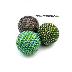Beaded Bead Tutorial JUPITER 34mm Pattern Instructions Beadweaving Peyote To Cover 30mm Beads.