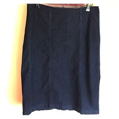 Denim skirt Great skirt for spring. Black denim. Back zipper.  Belt loops but no belt comes with skirt. In excellent condition. Chelsea & Theodore Skirts