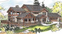 Posts, gable-end detailing, and wooden handrails draw eyes to this Craftsman home plan. The vaulted porch flows into the deck that wraps around the spacious vaulted gathering space. The plush owners' suite is vaulted too; loft, bathroom and two more bedrooms are also above.