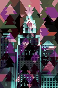 Christmas Eve Detroit by Garth Glazier Christmas Eve, Christmas Trees, Detroit Skyline, Detroit Area, Quilt Designs, Blue Tones, City Art, City Streets, Geometric Art