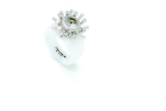 Charlotte ceramic ring in white with a topaz starburst combination.