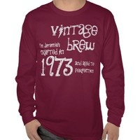 40th Birthday Gift 1973 Vintage Brew Red G200 Tshirts from Zazzle.com. #tees #tshirt #sweatshirt #hoodie #longsleeve #shortsleeve #40th #1973 #customize #birthday