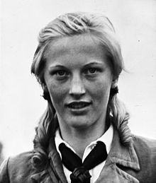 Ilse Hirsch - of the BDM, 1933. Born in the industrial town of Hamm in 1922 & joined the BDM at age sixteen. She soon became one of its main organizers in Monschau &  trained at Hülchrath Castle for her part in 'Operation Carnival', the assassination of the American appointed Burgermeister of Aachen, the first German city to fall to the Allies. Dropped by parachute near the outskirts, the five man and one woman team made their way into the city guided by Hirsch who knew the area well.