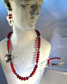 Three Shades of Red Crystal Necklace Earring by blingbychristine, $44.25