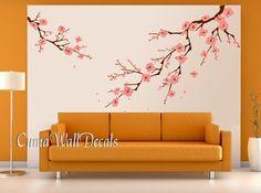 pink cherry blossom wall decals white flower vinyl mural nature wall sticker children decals nursery wall mural-cherry blossom Z163 cuma USD79