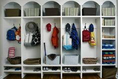 Cubby - shelving various sizes, coat, backpack, lunchbox, hats, gloves, shoes
