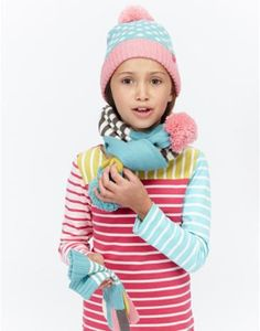 JNR DOTTY SCARF Girls Pom Pom Scarf