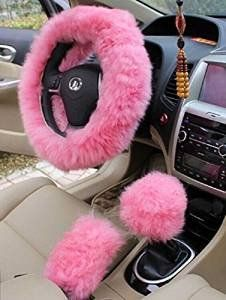 "Yontree Winter Warm Faux Wool Handbrake Cover Gear Shift Cover Steering Wheel Cover 14.96""x 14.96"" 1 Set 3 Pcs (Pink)"