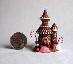 Handmade Miniature FAIRY CHRISTMAS GINGERBREAD TOWER HOUSE  - OOAK by C. Rohal #CRohal