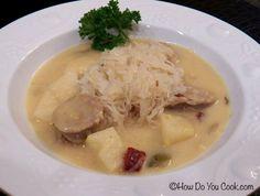Brat, Cheddar and Sauerkraut Soup