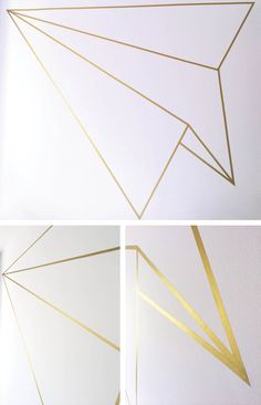 DIY + Paper Plane Wall Mural | geometric airplane from washi or masking tape | CAROLE + ELLIE