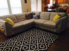 Painters canvas drop cloth slipcover - no sew.  3 9x12 and 2 6x9 washed and dried.