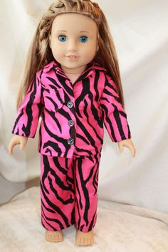 American Girl Doll Pajamas in zebra print black by HopscotchSundae, $18.99