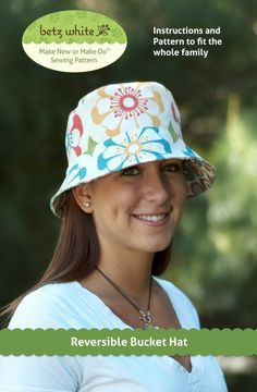 Reversible Bucket Hat Sewing Pattern. XS-XL (40.5cm-63.5cm) (baby-adult)