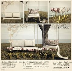https://flic.kr/p/SDUMuC | Serenity Style- Lovely Spring SERIE | Exclusive for the new round of The Liaison Collaborative   3 individual items that also can be purchased in fatpack.  * Couples romantic hanging bench (with and w/o swing) + Paper Butterflies.  *Single hanging bench + Paper butterflies  *Bunches of tulips (lilac, white and mix).  This is a special round cause the event celebrates it´s 4th Bday so..will be available amazing gifts !!  Open from 7 March