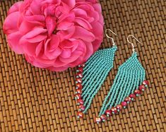 Seed Bead Earrings, Native American Inspired Bead Work, Boho earrings Turquoise earrings by SandasHandmades on Etsy Beaded Earrings Native, Seed Bead Earrings, Fringe Earrings, Boho Earrings, Seed Beads, Style Tribal, Jade Crystal, Candy Jewelry, Beading Techniques