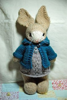 Muriel - Knitted Tan and Cream Bunny Rabbit with Woolen Dress and Hoodie