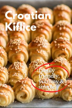 Looking for the perfect family friendly snack? We have you covered with our recipe for Kiflice!  In Croatia, it can be found in numerous shapes and sizes. Fillings also vary between regions. They can be salty or sweet, stuffed with ham, cheese, vanilla, walnut, poppy paste, and many others. #croatainfood, #traditionalcroatianrecipes, #Croatiancuisine, #sweet&savoury