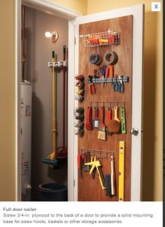 Tool closet in the water heater room