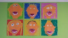 Thema Beroepen: jij bij de tandarts! Laat de kinderen zichzelf verven op dik papier. Vouw een rood of roze ronje dubbel en laat ze er uit wit papier tanden uit knippen. Die kunnen ze in de mond plakken en daarna op hun geverfde gezicht als het droog is. De mondjes kunnen dan open en dicht.