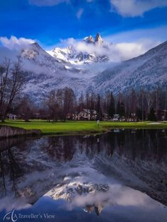 The still ponds of the golf course make for beautiful reflections of the surrounding mountains. #snow. Discovered by Jan Venter at Chamonix, France