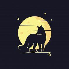 Fox Silhouette Against Moon