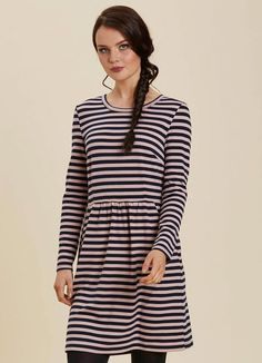 The Gigi Breton Stripe Dress is a pink and navy striped stretch jersey dress with long sleeves, a crew neckline and pockets. Stripe Dress, Pink Dress, Joanie Clothing, Navy Stripes, Workwear, Dresses With Sleeves, Pockets, Long Sleeve, Clothes